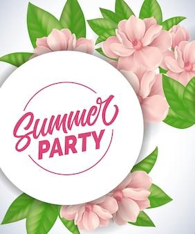 Летние вечерние надписи. романтический фон с розовыми нежными цветами и листьями.