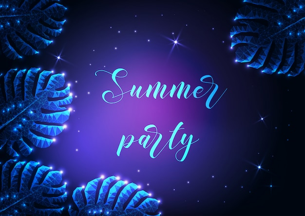 Summer party lettering with glowing low polygonal monstera tropical leaves background