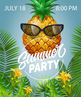 Summer party lettering with pineapple in sunglasses. summer offer
