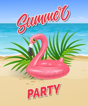 Summer party lettering with sea beach and swimming ring in shape of flamingo