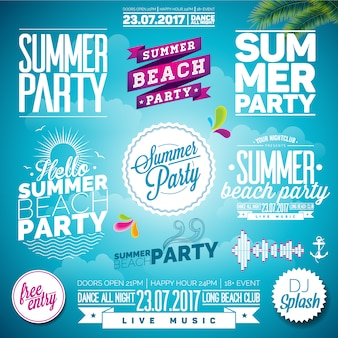Summer party logo template
