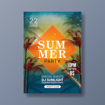 Summer party modern poster template