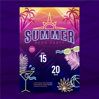 Summer party neon poster with cocktail