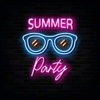 夏のパーティーネオンサインデザインテンプレートネオンスタイル