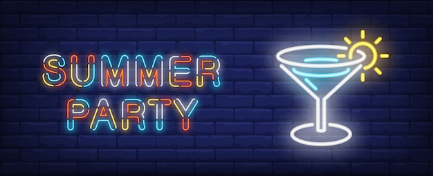 Summer party in neon style. colorful text and cocktail on brick wall background.