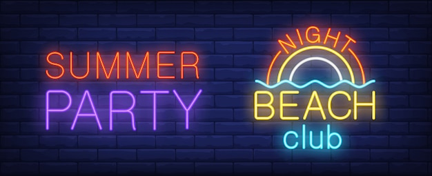 Summer party in night beach club neon sign. bright rainbow on sea.
