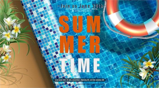 Летняя вечеринка вечеринка у бассейна с надувным кольцом в воде