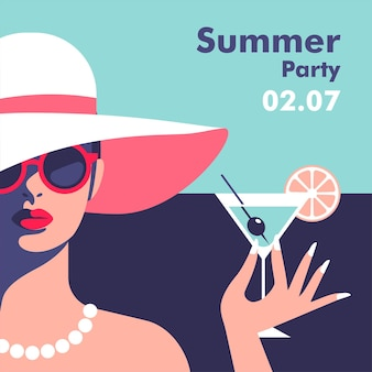 夏のパーティーポスターデザインテンプレートミニマルなスタイル