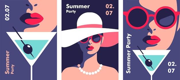 Шаблон дизайна плаката летней вечеринки минималистичный стиль