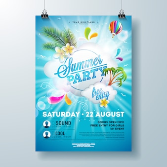 Summer party poster design template with flower, palm leaves and cloud on blue background. holiday illustration