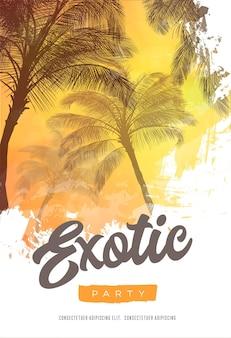 Шаблон дизайна плаката летней вечеринки с силуэтами пальм. современный стиль. иллюстрация