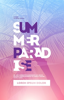 Summer party poster design template with palm trees silhouettes. modern style. vector illustration