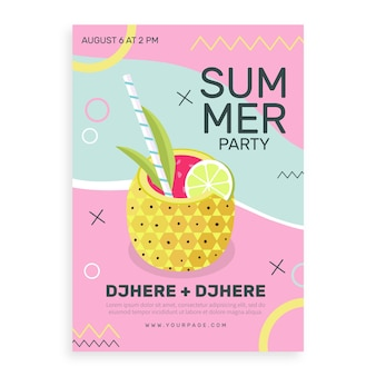 여름 파티 포스터 평면 디자인 서식 파일