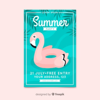 Summer party poster flat design