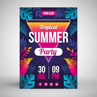 Summer party poster flat style
