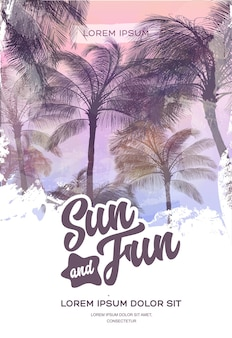 Summer party poster or flyer design template with palm trees silhouettes.
