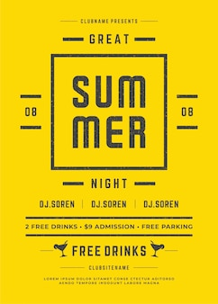 Summer party poster or flyer retro typography design template event vector illustration.
