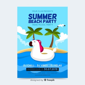Summer party poster or flyer template ready to print