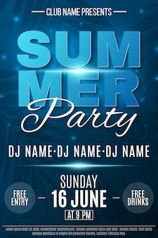 Summer party poster. glowing neon text banner with flying luminous lights. dark blue background with palm trees. dance night party.