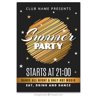 Summer party poster golden design