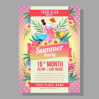 Summer party poster holiday with tropical cocktail polkadot background  illustration