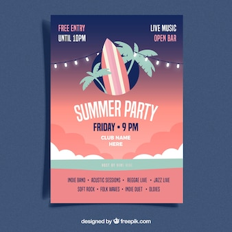 Summer party poster in flat style