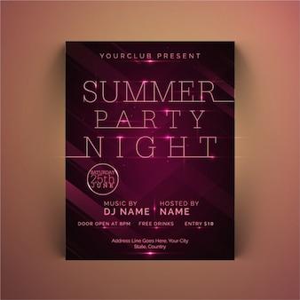 紫色の色調で夏のパーティーのポスター