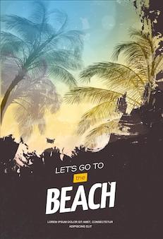 Летняя вечеринка плакат или шаблон оформления флаера с силуэтами пальм. современный стиль. иллюстрация