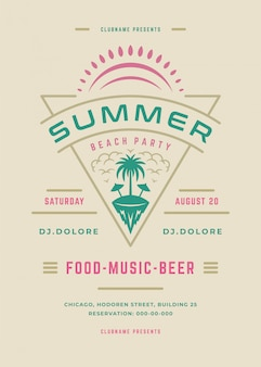 Летняя вечеринка плакат или флаер ретро дизайн шаблона.