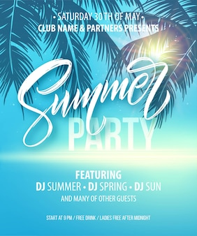 Summer party poster. palm leaf and sea background.