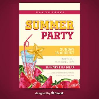夏のパーティーポスターテンプレートとジュース