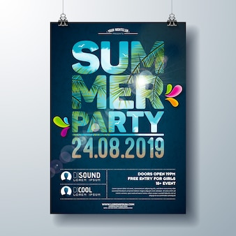 Summer party poster template design with palm trees and ocean landscape