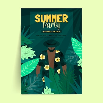 Summer party poster template in flat design