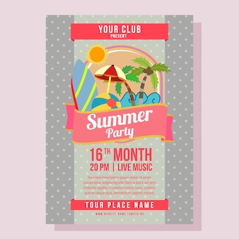 Summer party poster template holiday with flat style beach vector illustration