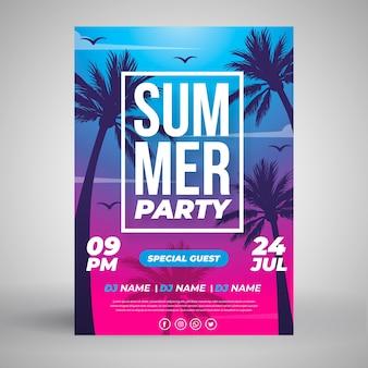 Шаблон плаката летней вечеринки в плоском дизайне