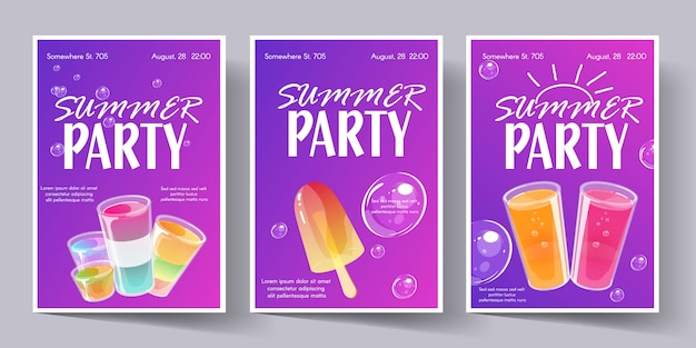 Summer party poster template set. invitation flyer with cocktail shots.
