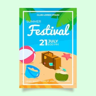 Modello del manifesto del partito di estate con pallone da spiaggia e valigia
