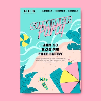 Summer party poster template with beach
