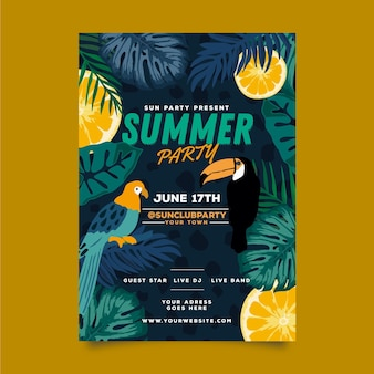 Summer party poster template with bird and leaves