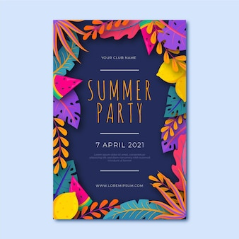 Summer party poster template with colorful leaves