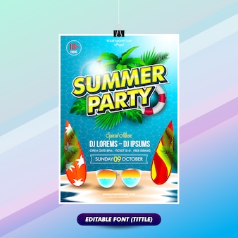Summer party poster template with editable text effect titles