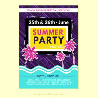 Summer party poster template with flat design