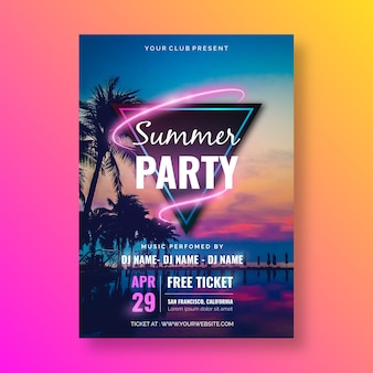 Summer party poster template with image