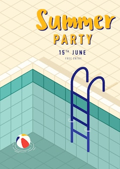 Summer party poster template with isometric swimming pool