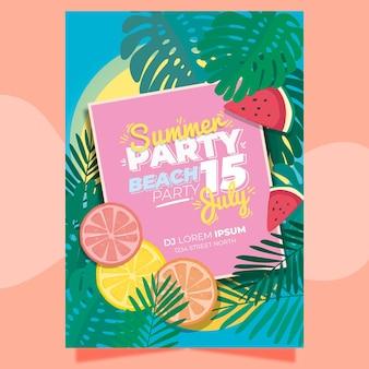 Шаблон плаката летней вечеринки с листьями и цитрусовыми