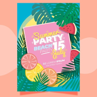 Summer party poster template with leaves and citrus