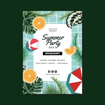Summer party poster template with leaves