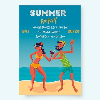 Summer party poster template with people on beach