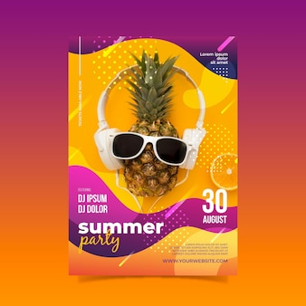 Summer party poster template with photo