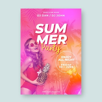 Summer party poster template with picture